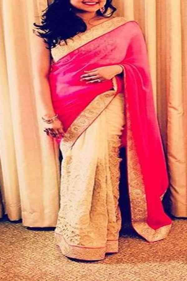 "Stunning Pink-Off White Colored Designer Soft Silk Festive Wear Saree - CD281  30"""