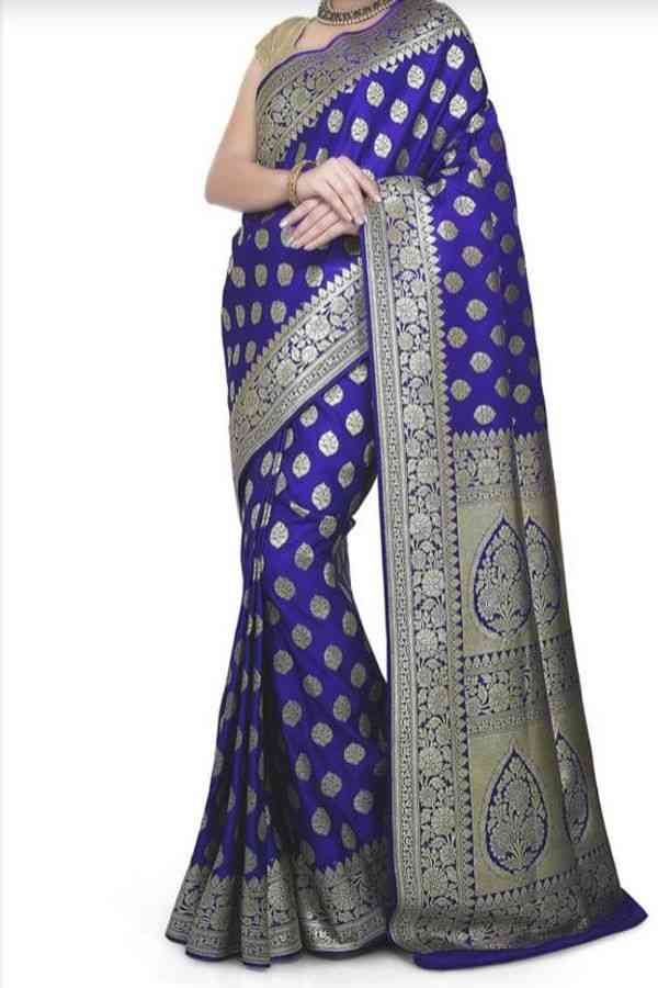 """Desirable Blue Colored Traditional Soft Silk Festive Wear Saree - CD283  30"""""""