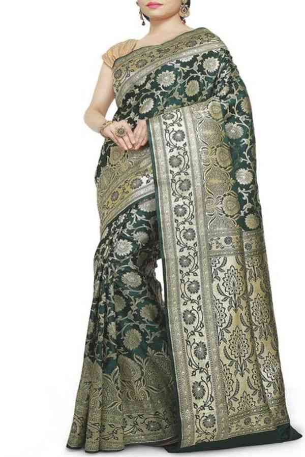 Classy Olive Green Colored Traditional Soft Silk Festive Wear Saree - CD284  30""