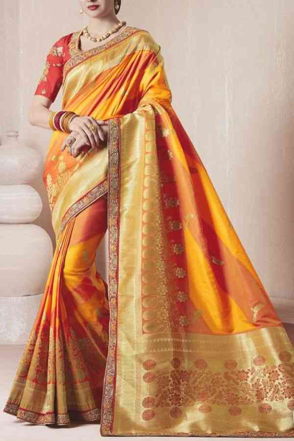 """Graceful Yellow Colored Traditional Soft Silk Festive Wear Saree - CD287  30"""""""