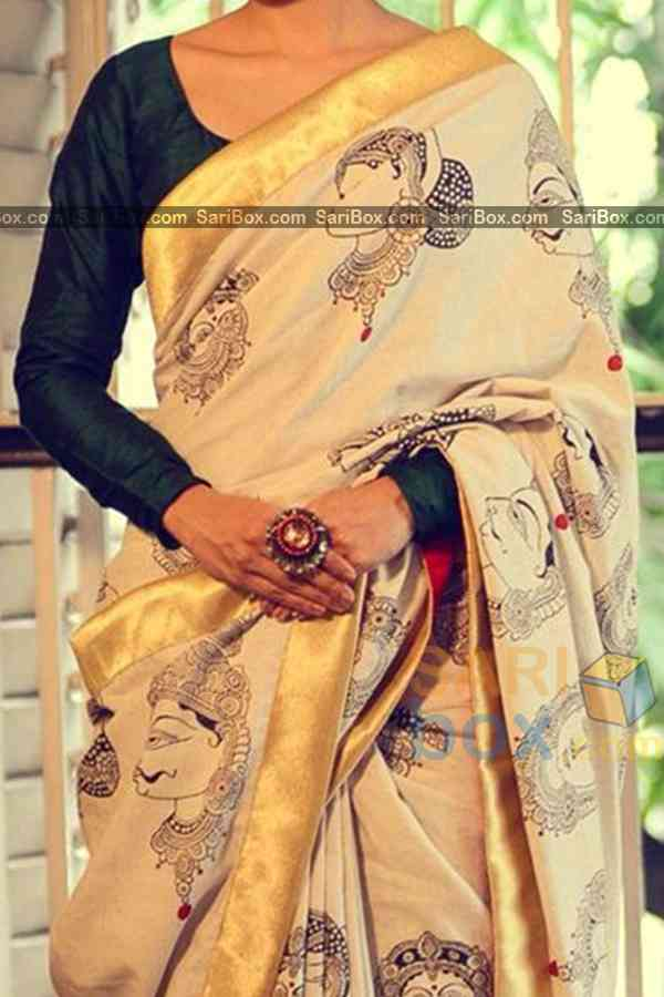 Marvellous Cream Colored Traditional Soft Silk Festive Wear Saree - CD304  30""