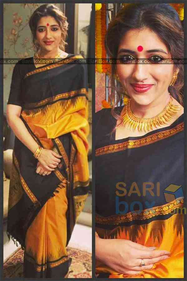 Gorgeousn Yellow and Black Colored Traditional Soft Silk Festive Wear Saree - CD306  30""
