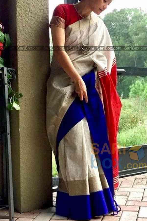 "Eye-Catching Red Pallu Traditional Soft Silk Festive Wear Saree - CD307  30"""