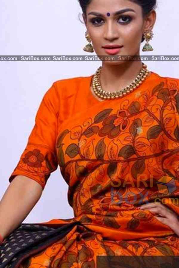 "Prominent Orange Colored Traditional Soft Silk Festive Wear Saree - CD316  30"""