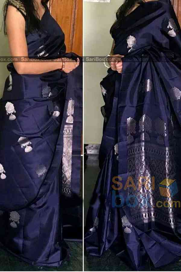 Gleaming Navy Blue Colored Traditional Soft Silk Festive Wear Saree - CD317  30""