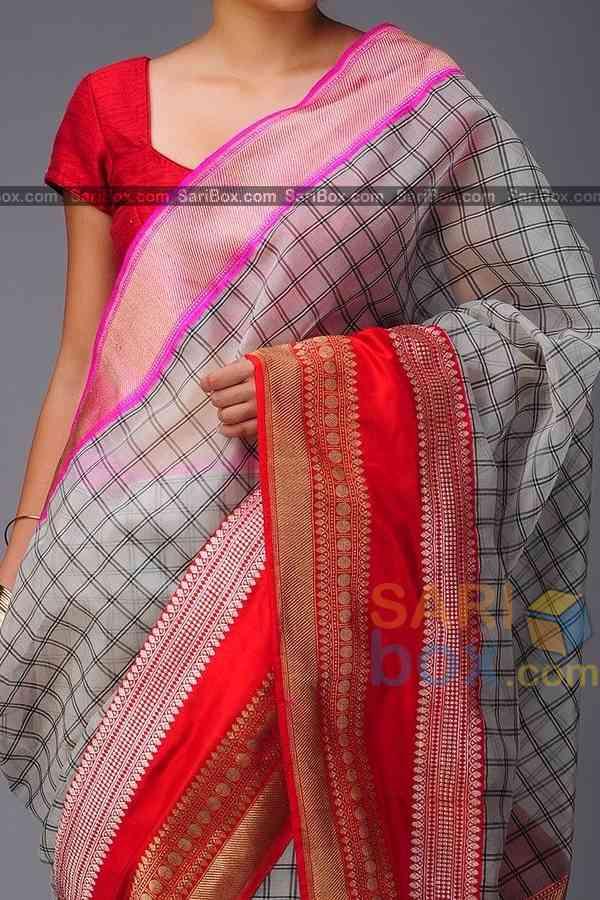"Groovy White Colored Checks Pattern Soft Silk Festive Wear Saree - CD320  30"""