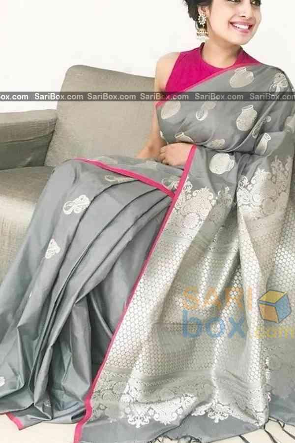 "Ethnic Grey Colored Soft Silk Festive Wear Saree - CD321  30"""
