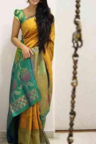 "Stylish Yellow Color Soft Silk Designer Sarees - SB1005  30"""