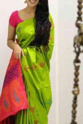 "Stylish Green Color Soft Silk Designer Sarees - SB1006  30"""