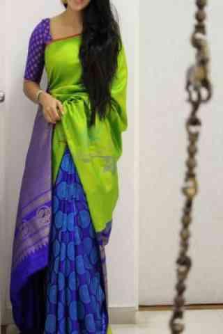 "Engrossing Green And Blue  Color Soft Silk Designer Sarees - SB1009  30"""