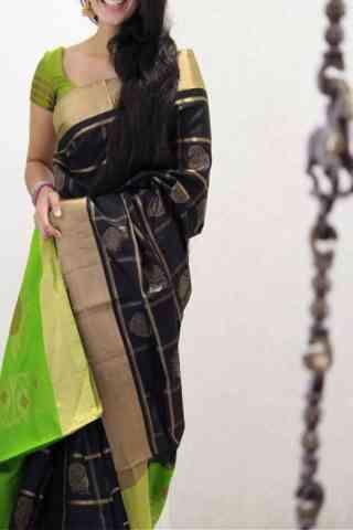 "Engrossing Black Color Soft Silk Designer Sarees - SB1010  30"""