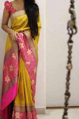 "Charming Yellow Color Soft Silk Designer Sarees - SB1016  30"""
