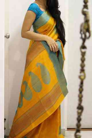 Sizzling Yellow Color Soft Silk Designer Sarees - SB1019  30""