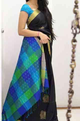 "Pretty Black Color Soft Silk Designer Sarees - SB1023  30"""