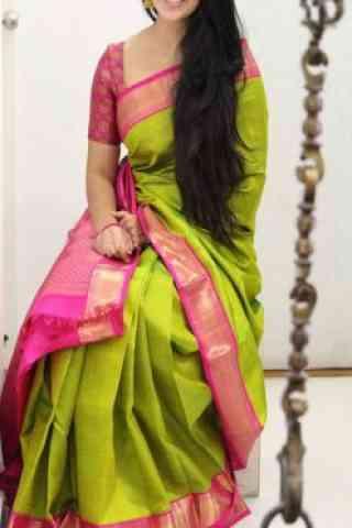 """Pretty Green Color Soft Silk Designer Sarees - SB1024  30"""""""