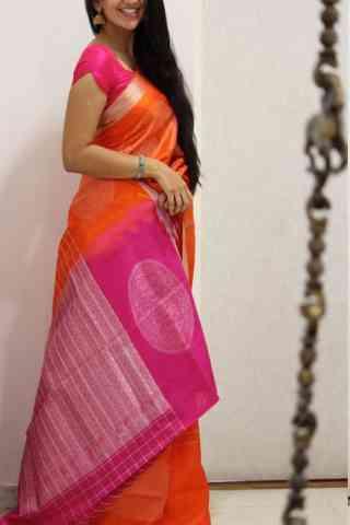 "Admirable Orange And Pink Color Soft Silk Designer Sarees - SB1027  30"""