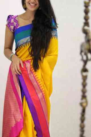 Divine Multi Color Soft Silk Designer Sarees - SB1029  30""