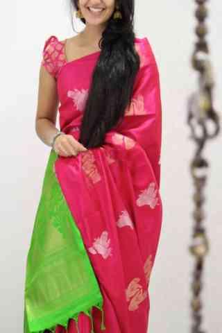 "Vibrant  Pink Color Soft Silk Designer Sarees - SB1036  30"""