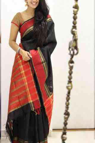 Modish Black Color Soft Silk Designer Sarees - SB1038  30""
