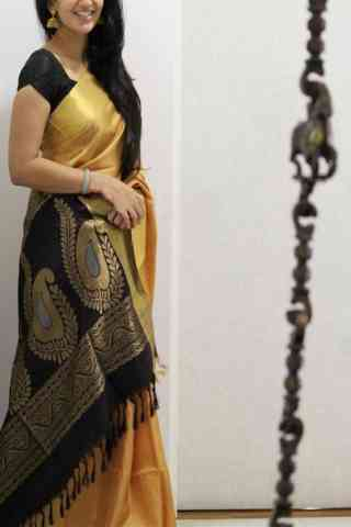 "Modish Yellow Color Soft Silk Designer Sarees - SB1039  30"""