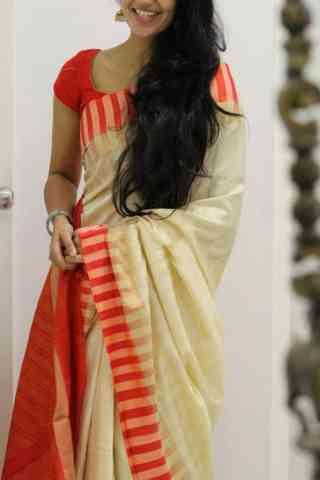 """Modish Cream Color Soft Silk Designer Sarees - SB1041  30"""""""