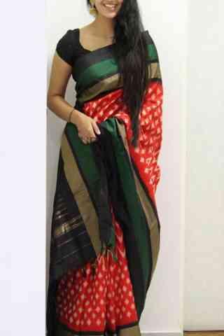 "Modish Red Color Soft Silk Designer Sarees - SB1042  30"""
