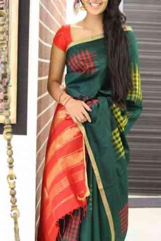 "Admirable Green Color Soft Silk Designer Sarees - SB1045  30"""