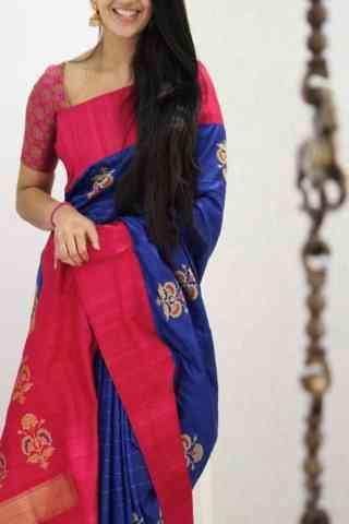 "Admirable Blue Color Soft Silk Designer Sarees - SB1048  30"""
