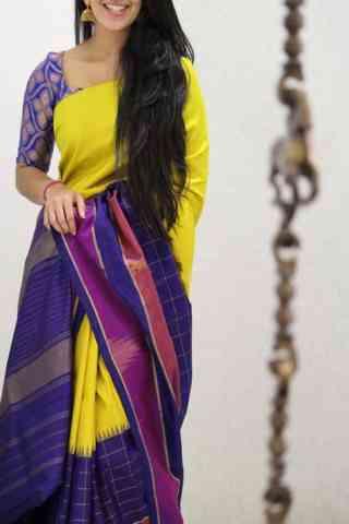 "Stylish Yellow And Purple Color Soft Silk Designer Sarees - SB1049  30"""