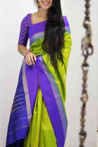 Dashing  Green And Purple Color Soft Silk Designer Sarees - SB1050  30""