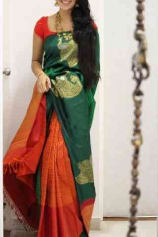 Dashing  Green And Orange Color Soft Silk Designer Sarees - SB1051  30""
