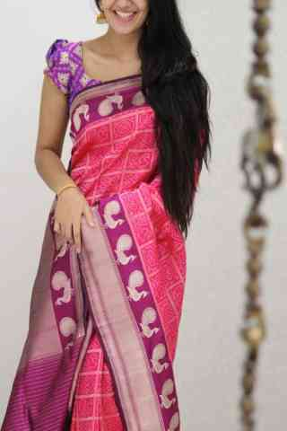 "Artistic Pink Color Soft Silk Designer Sarees - SB1054  30"""