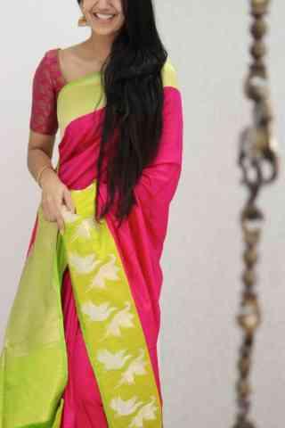 "Flawless Pink Color Soft Silk Designer Sarees - SB1055  30"""