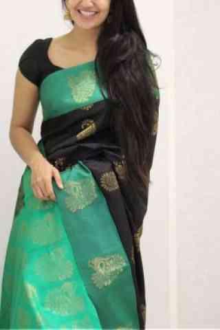 "Glorious Black Color Soft Silk Designer Sarees-SB1065  30"""