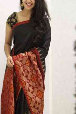 Dreamy Black And Red Color Soft Silk Designer Sarees-SB1067  30""