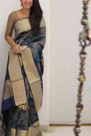 Dynammic Grey Color Soft Silk Designer Sarees-SB1070  30""