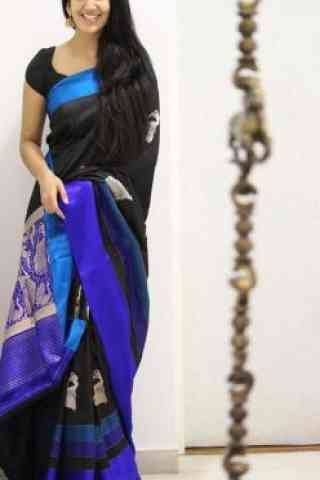 Dynammic Black Color Soft Silk Designer Sarees-SB1071  30""