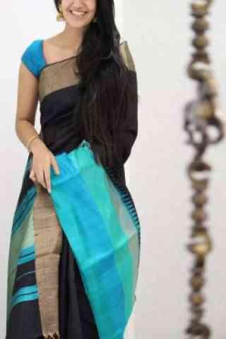 "Attractive Black Color Soft Silk Designer Sarees-SB1073  30"""