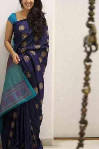 "Glammrous Blue Color Soft Silk Designer Sarees-SB1075  30"""