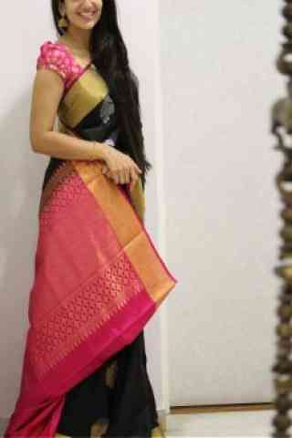 Fashionista Black And Pink Color Soft Silk Saree - SB1078  30""