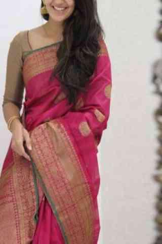 "Dreamy Pink Color Soft Silk Saree - SB1080  30"""