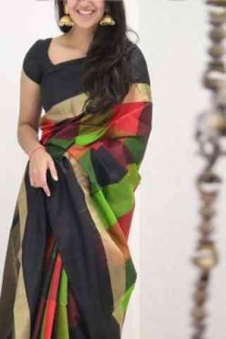 "Classic Multi Color Soft Silk Saree - SB1083  30"""