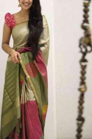 """Unique Multi Color Soft Silk Saree - SB1088  30"""""""