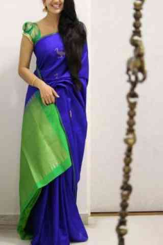 "Royal Blue And Green Color Soft Silk Saree - SB1091  30"""