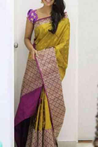 """Pretty  Yellow  Color Soft Silk Saree - SB1099  30"""""""