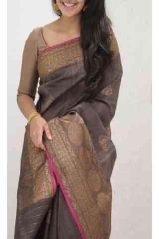 "Charming Brown Color Soft Silk Designer Wear Saree - SB1105  30"""