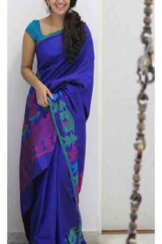 Sizzling Blue Color Soft Silk Designer Wear Saree - SB1107  30""