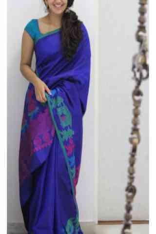 "Sizzling Blue Color Soft Silk Designer Wear Saree - SB1107  30"""