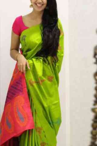 Outstanding Green Color Soft Silk Saree - SB1108  30""