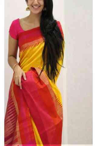 "Artistic Yellow Color Soft Silk Designer Sarees - SB1119  30"""